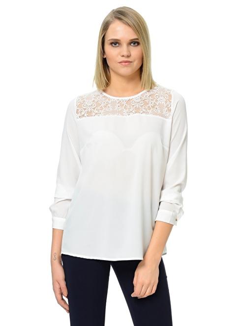 Dewberry Dantelli Bluz Beyaz